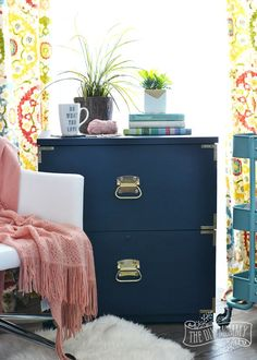 Diy Home : Illustration Description How to turn an old filing cabinet or an old dresser into a gorgeous campaign dresser inspired piece with Fat Paint chalk style paint (Amanda Forrest Collection Navy State of Mind) -Read More – Furniture Makeover, Furniture Decor, Painted Furniture, Office Furniture, Funky Furniture, Recycled Furniture, Refurbished Furniture, Furniture Projects, Old Cabinets
