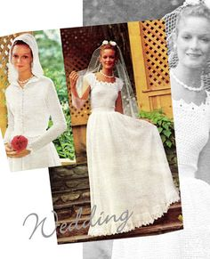 Vintage CROCHET Wedding Dress & Jacket PDF Pattern - Wedding Dress