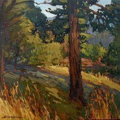 "Jan Schmuckal - ""Hillside Meadow"" - Tonalist Impressionist Artist | Original Oil on Canvas | 12""x12"" | Cambria Pines | Craftsman"