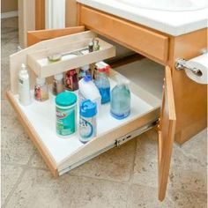Slide-A-Shelf Made-To-Fit 12 in. to 30 in. wide, Adjustable Sink Caddy Slide-Out Shelf System with Full Extension in Solid Wood Front SAS-SI-SC at The Home Depot - Mobile