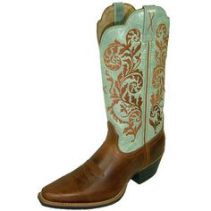 Peanut and Sky Blue Narrow Square Toe Western Boots