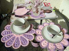 CROCHET PLACEMAT SET, Handmade Crochet Doily Round 20cm Set of 2, Pretty Pink Flower Crochet Doily Set, Easter Gift, Crochet Lyubava. $15.99, via Etsy.