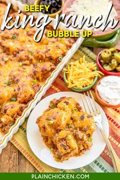 Beefy King Ranch Bubble Up – SO good!!! Ground beef, taco seasoning,  Velveeta cheese, diced tomatoes and green chiles, chicken soup tossed with chopped refrigerated biscuits and baked – use mild rotel if worried about the heat. OMG! SO easy and SO delicious! I wanted to lick my plate! #casserole #mexican #beef #taco #groundbeef #biscuits Easy Main Dish Recipes, Quick Recipes, Pork Recipes, Quick Easy Meals, Mexican Food Recipes, Cooking Recipes, Food Dishes, Main Dishes, Community Cookbook