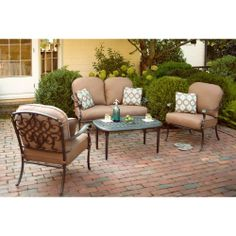 Hampton Bay Edington 2013 4-Piece Patio Seating Set with Textured Umber Cushions-131-012-4DS-V2 at The Home Depot