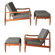 Pair of Adrian Pearsall Lounge Chairs with Ottomans