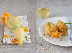 Przepis na wykwintne danie z kwiatów dyni lub cukinii. Nadziewane oliwkami i 2 rodzajami sera kwiaty smaży się w panierce w klarowanym maśle.