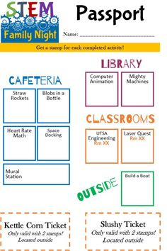 Stem passport to guide students to activities and recieve stamps for food