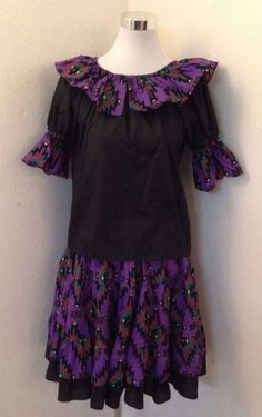 PURPLE AND BLACK SOUTHWEST PATTERN SQUARE DANCE OUTFIT WITH MATCHING PARTNER TIE