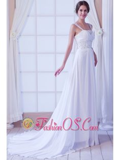 Beautiful Empire Straps Court Train Chiffon Beading Wedding Dress- http://www.fashionos.com  http://www.facebook.com/fashionos.us  This delicate and marvelous wedding dress with two embroidered shoulder straps and see-through lace in the middle bust to define your charming curve. The intricate embroidery and stunning beadwork on the waist features the elegant and chic style of the dress. The floor-length skirt flows freely the floor and extends to a chapel train.