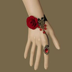 Gothic Jewelry Box Diy Red Rose Flower Beads Drop Bronze Black Lace Adjustable Ring Bracelet Set Lolita in Jewelry Sets Hand Jewelry, Cute Jewelry, Body Jewelry, Jewelry Sets, Jewelry Watches, Jewelry Bracelets, Fancy Jewellery, Jewellery Sale, Jewellery Earrings