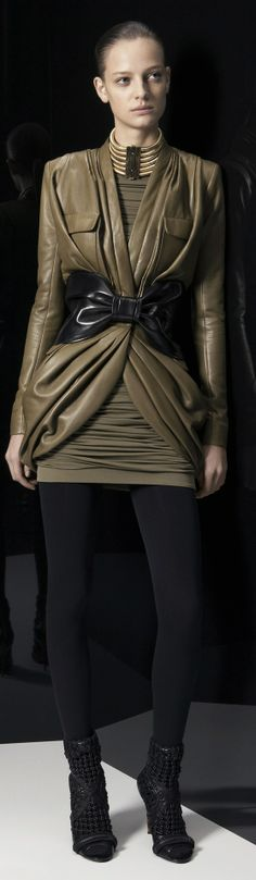 Balmain Pre-Fall 2014 Collection yummy leather in olive and black
