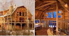 I found this on the TimeWorn Wood Pinterest page and I am in ! Aside from the beautiful rustic looking exterior the inside of this  is absolutely breathtaking.  If I won the lottery this is the home I would build.  #dreamhome #handcrafted #someonebuymethis #countryliving #rockfireplace #barn #cabin #snow #candles #takemeaway
