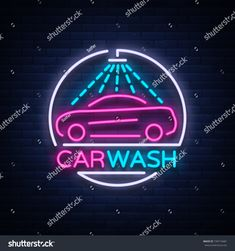 Car wash logo design emblem in neon style vector illustration. Template, concept, luminous sign on the theme of washing cars Car Wash Mitt, Car Wash Soap, Sparkle Car Wash, Car Wash Posters, Car Wash Business, Neon Style, Logo Design, Car Cleaning Hacks, Parking Design