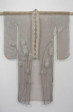 """Yumemiru Hito"" (Dreamer) Flameworked glass, copper mesh, recycled lace, raspberry cane 132H X 91W X 13D cm – 52""H X 36""W X 5""D 2010"