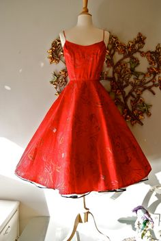 Anyone have $348 I can borrow for this Vintage 1950s Alfred Shaheen 50s Hawaiian Bombshell Sun Dress Cherry RED Full Skirt VLV?? :)