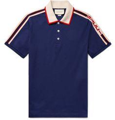 699ed7acf853 Gucci - Webbing-Trimmed Stretch-Cotton Piqué Polo Shirt