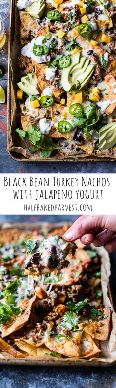 Black Bean Turkey Nachos with Jalapeno Yogurt | halfbakedharvest.com @hbharvest