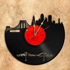 Wall Clock San Francisco Vinyl Record Clock via GeoArtCrafts. Click on the image to see more!