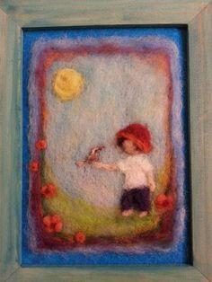 Peinture de laine  Boy et les oiseaux petite par AdiCeramicsAndArt, $55.00