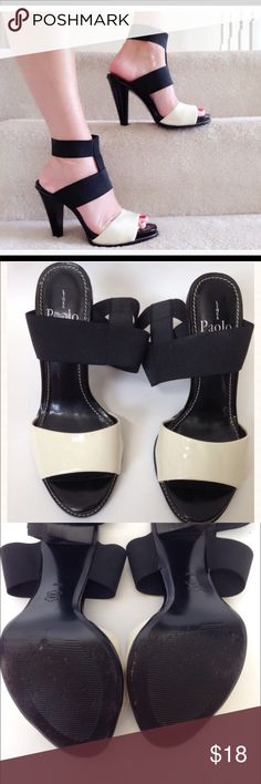 """⚫️⚪️⚫️Linea Paolo gorg double strap heel. Gorgeous black elastic and beige patent define this shoe as one that will definitely draw attention. See other information in photo area 4.  Please look at all photos and descriptions carefully before you purchase. Not returnable. Please click like on this and any items you like in my closet and also """"follow me """"to receive future updates on sale prices. Thank you Linea Paolo Shoes Heels"""