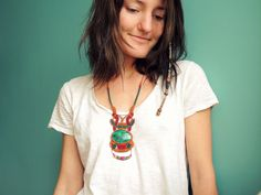 Pachamama Macrame Necklace with Enamel Medal and by MakeMeMacrame