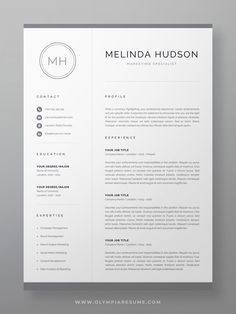Showcase your skills and experience in a professional way with a clean modern resume design. The resume template Melinda is designed to communicate your information quickly and effectively. It's easy to fill out, but also fully customizable, you can modify it to suit your personal needs. The template pack includes resume, cover letter and references templates in matching designs for creating a complete and consistent job application. #resume #resumetemplate #jobsearch #careeradvice One Page Resume Template, Modern Resume Template, Creative Resume Templates, Creative Cv, Resume Ideas, Cover Letter For Resume, Cover Letter Template, Resume References, Cv Words