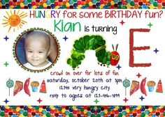 Very Hungry Caterpillar Birthday Party Invitation