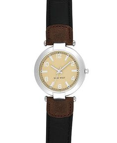 Nine West Watch, Women's Brown Leather Strap NW-1225SVBK - Women's Watches - Jewelry & Watches - Macy's