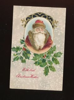 Old World Santa Claus & Holly Antique Winsch Back Christmas Postcard-ooo45