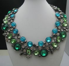 Mid Century Style Rhinestone Necklace c1980