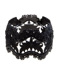 Black Bead Lace Effect Stretch Bracelet