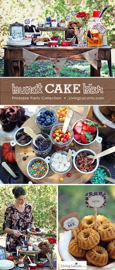 A Beautiful Outdoor Decorate Your Own Mini Bundt Cake Bar Party. Whether you're throwing a backyard bash or decorating a dessert table, these party ideas and free party printables will impress your guests! See more at LivingLocurto.com