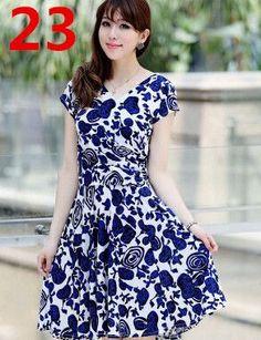 New 2015 Women Spring Boho Asymmetrical One-piece Floral Print Plus Size Clothing V-neck Short-sleeve Summer Beach Dress QA282