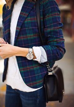 Plaid blazer with sweater