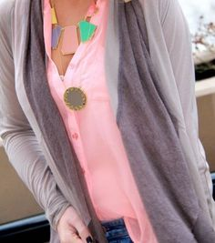 ..love that necklace and pink shirt combo