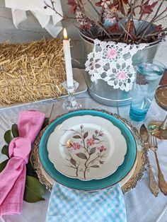 Thrift the Look: A Garden Inspired Table Setting - Audrey Would! Place Settings, Table Settings, Mother Nature, Tablescapes, Tabletop, Thrifting, Table Decorations, Inspired, Creative