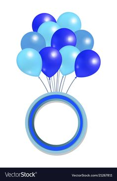Blue balloons big bundle round frame for greetings vector image on VectorStock Body Parts Preschool Activities, Photo Frame Maker, Princess Cake Toppers, Anniversary Congratulations, Polka Dot Birthday, Black And White Stickers, Baby Shower Templates, Banner Background Images, Ribbon Banner