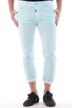 Uomo Absolut joy pantaloni trousers 97% cotone - 3% lycra color: azzurro