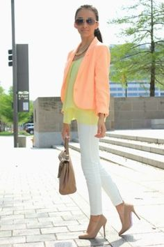 Love the combination of the yellow shirt with light orange blazer...perfect for spring/summer