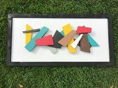 Modern wall art rustic wood sculpture Reclaimed wood art