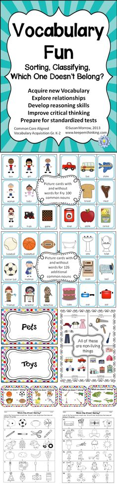 $ Vocabulary Fun: Sorting, Classifying, Which One Doesn't Belong? is a fun way to teach the Common Core Standard  Vocabulary Acquisition and Use to primary students. The product includes all the materials needed to teach primary students to sort, classify and categorize vocabulary words and to explain how items are classified and categorized and relationships between objects.