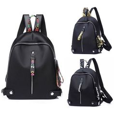 Fashion Women Black Shoulder School Backpack Travel Bag Nylon Rucksack Handbag – Purse Backpack – Ideas of Purse Backpack - Black Handbags, Purses And Handbags, Leather Handbags, Leather Wallet, Backpack Travel Bag, Backpack Purse, Travel Handbags, Wallets For Women Leather, Nylon Bag