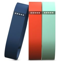 Keep your style fresh everyday with the Fitbit Flex™ Wireless Activity + Sleep Wristband Accessory 3 pack. Coming in three fashionable colors - teal, tangerine and navy - you have the ability to update and refresh your look on a daily basis. The flexible and inter-changeable build of the Fitbit Flex™ allows you to easily swap it in and out of the bands for convenient use.