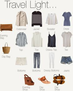 I love the light and breezy version of this version of 'Travel Light' perfect capsule travel wardrobe. Capsule Wardrobe, Travel Wardrobe, Wardrobe Ideas, Summer Wardrobe, Look Fashion, Womens Fashion, Nail Fashion, Travel Light, Look Chic