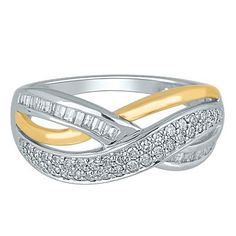 1/2 ct. tw. Diamond Crossover Ring in 10K Gold available at #HelzbergDiamonds