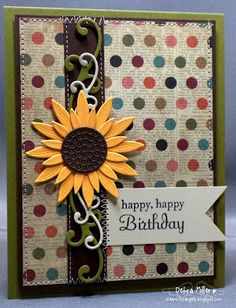 The sunflower is a new die from Die-Namics. Hand Made Greeting Cards, Making Greeting Cards, Greeting Cards Handmade, Paper Quilling Cards, Paper Cards, Birthday Cards For Women, Handmade Birthday Cards, Happy Birthday, Fall Birthday