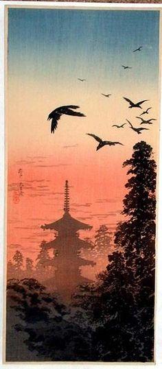 "Takahashi Shotei (1871-1945)   ""Pagoda and Crows at Sunset"""