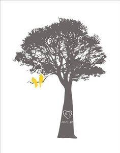 birds and trees. adorable. and, love the grey/yellow combo!