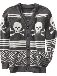 Boys Skull-Graphic V-Neck Cardigans | Old Navy- XXL (youth sized)