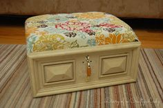 Diary of a Crafty Lady: Old Drawer Ottoman - I think I would refinish the drawer on this one - and use different fabric. But - a great idea!